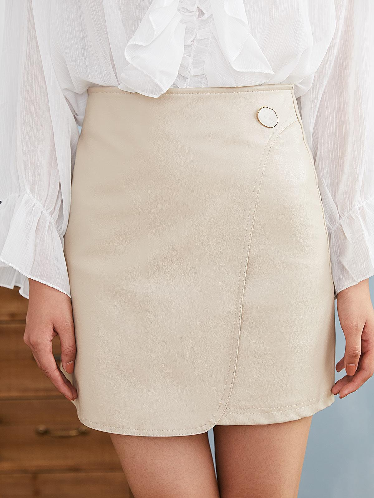 Foldover Faux Leather Skirt