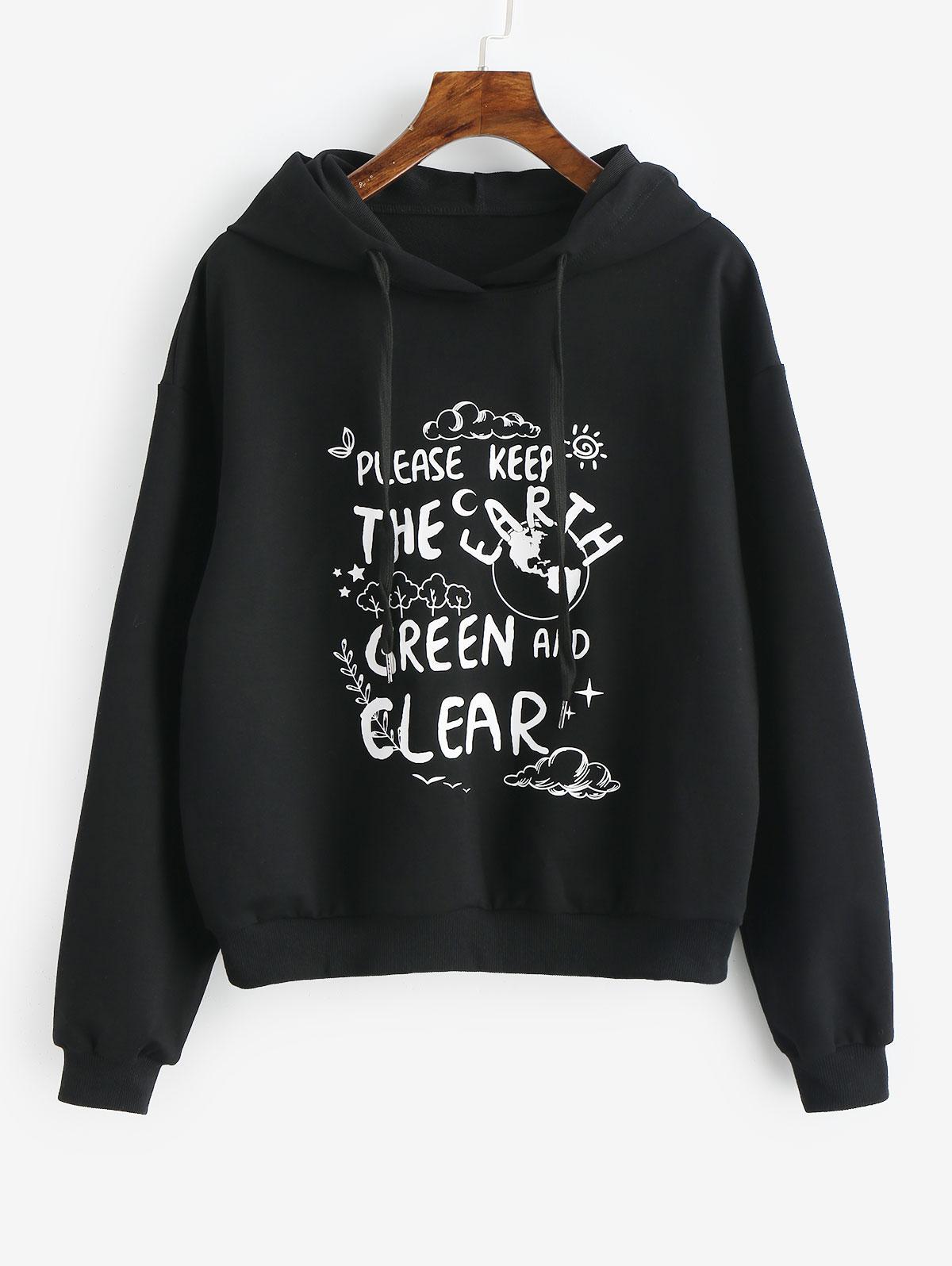 Eco-Friendly Slogan Hoodie