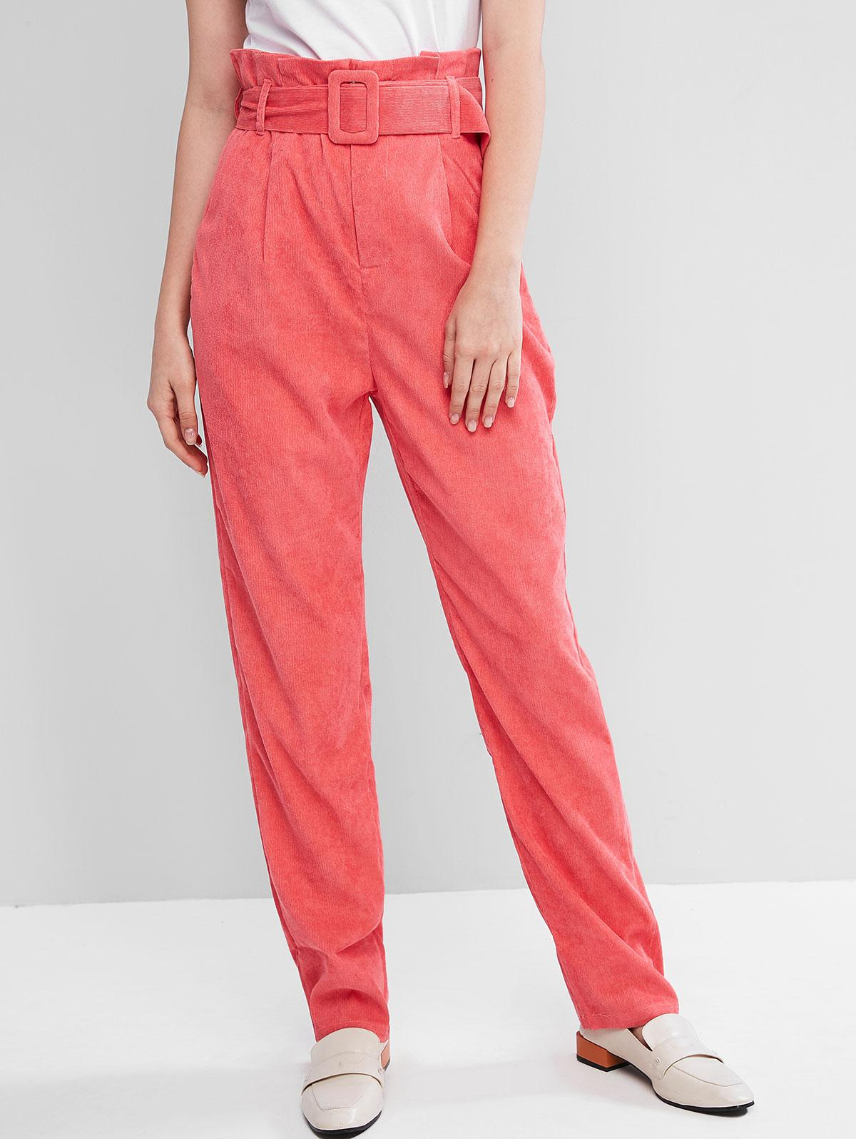 High Waist Belted Corduroy Pants