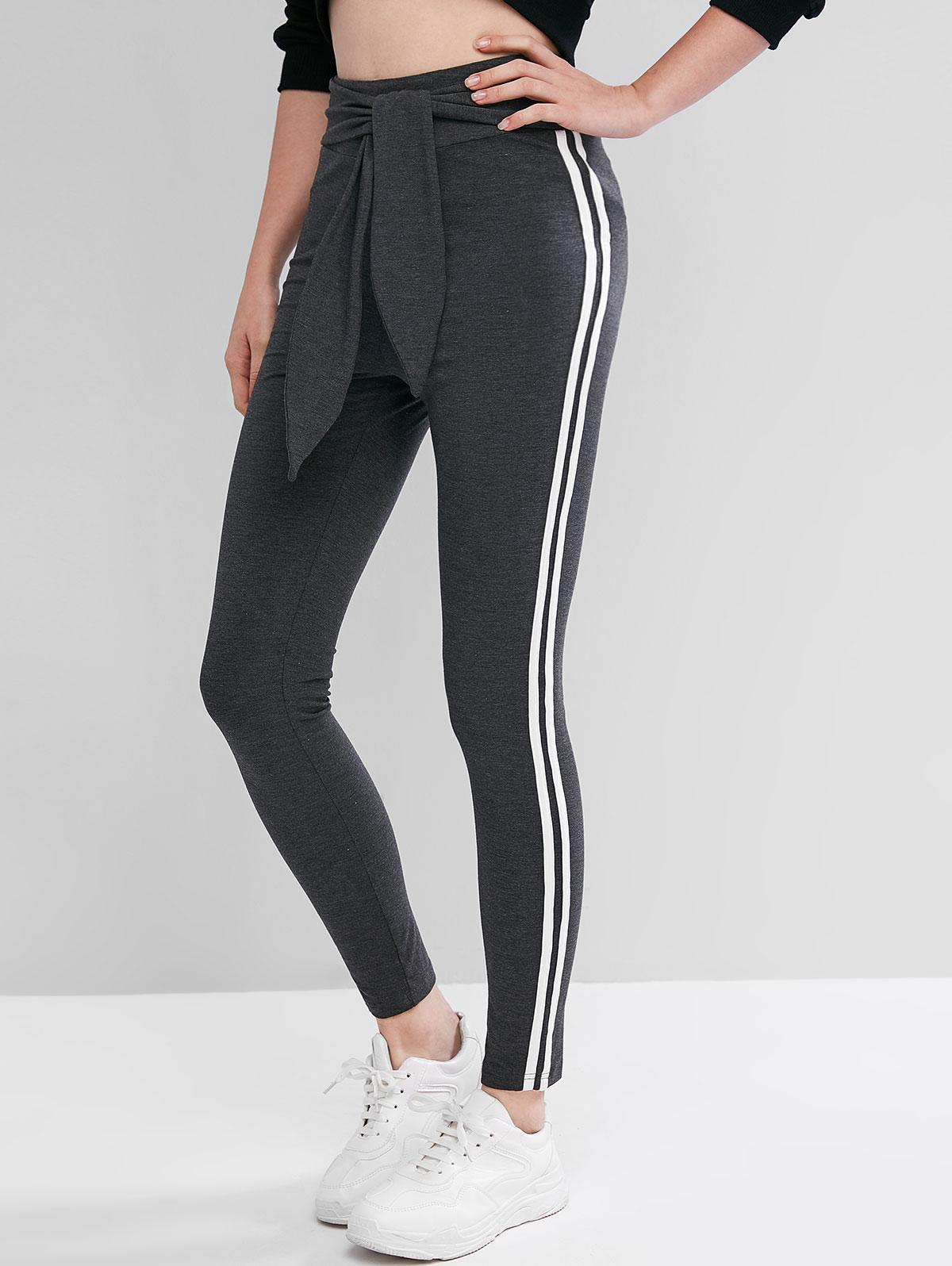 ZAFUL Tie Waist High Waisted Racing Stripes Leggings фото