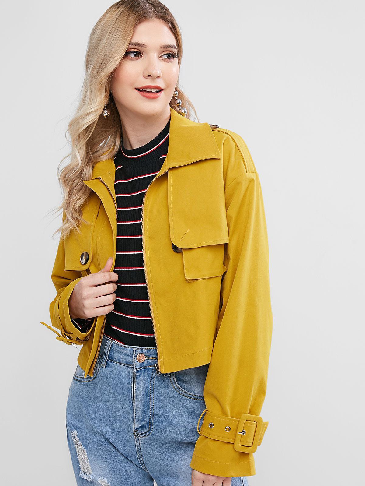 ZAFUL Zip Up Pockets Solid Crop Jacket