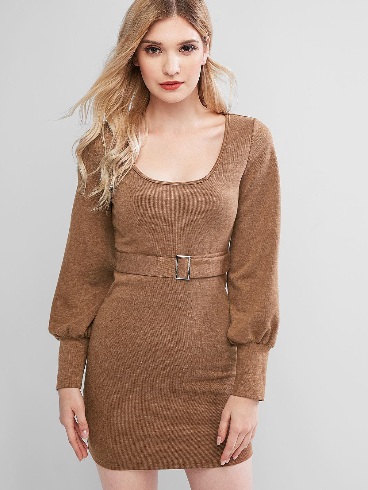 ZAFUL Knitted Belted Bodycon Mini Dress