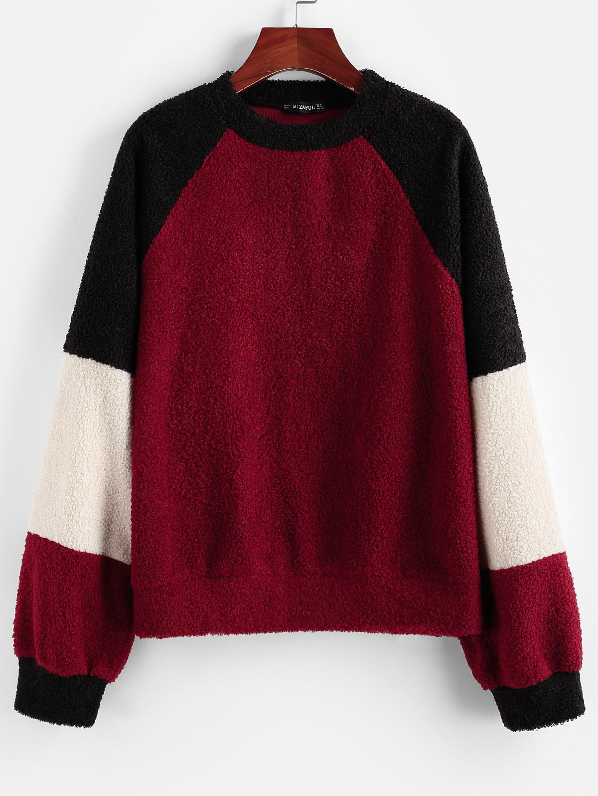 ZAFUL Colorblock Teddy Sweatshirt