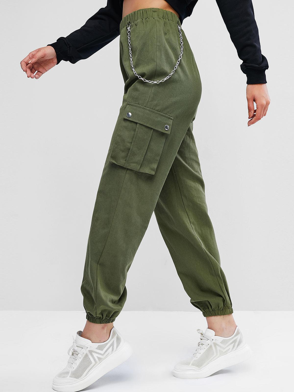 Chain Flap Pockets Solid Jogger Pants, Army green