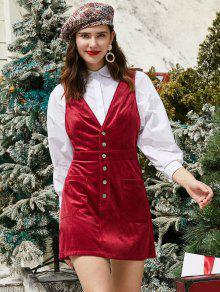 ZAFUL نصف زرر جيوب عيد الميلاد كودري اللباس البسيطة - نبيذ احمر S