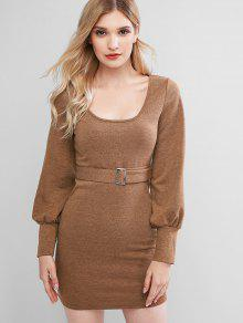 Knitted Scoop Neck Tight Dress