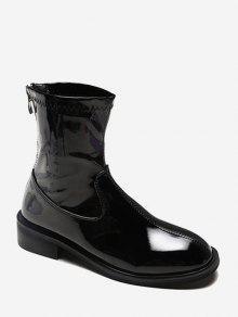 عادي براءات الاختراع والجلود كعب منخفض أحذية الكاحل - أسود الاتحاد الأوروبي 35