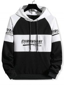 Colorblock Spliced Letter Print Drawstring Hoodie