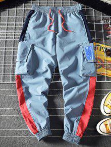 جيب مزين اللون مربوط السراويل - أزرق M