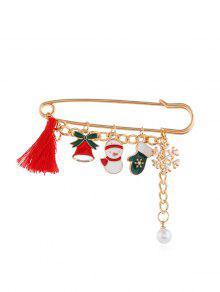 عيد الميلاد الشرابة قلادة الآمن دبوس بروش - ذهب Style3