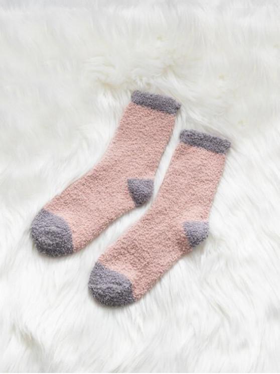 Chaussettes d'Hiver Bicolore en Laine - Rose Léger