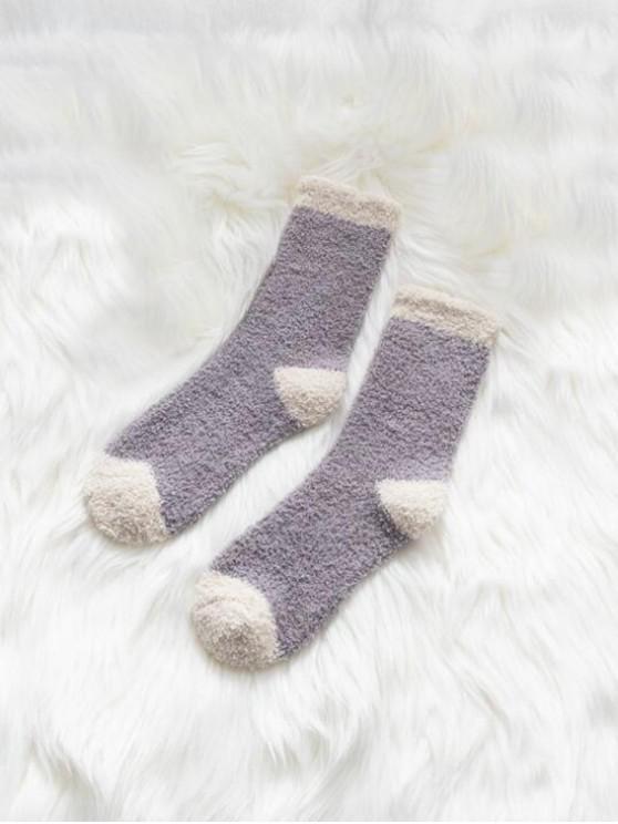 Chaussettes d'Hiver Bicolore en Laine - Pourpre Moyen