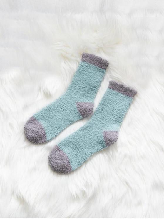 Chaussettes d'Hiver Bicolore en Laine - Bleu-gris