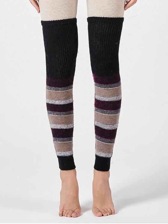 Полосатые Трикотажные Носки Выше колена - Чёрный