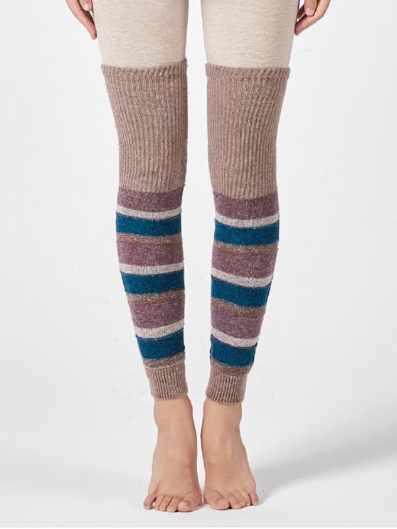Striped sopra il ginocchio Calzini lavorati a maglia manica - Cachi