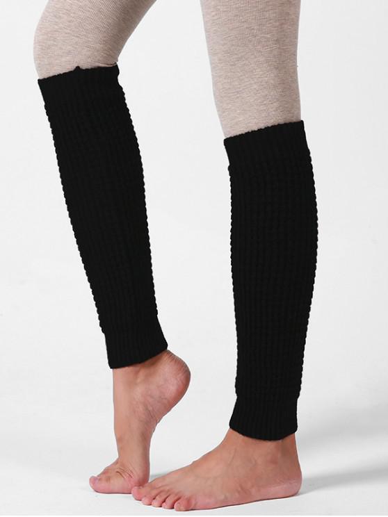 trendy Knitted Woolen Yarn Sleeve Socks - BLACK