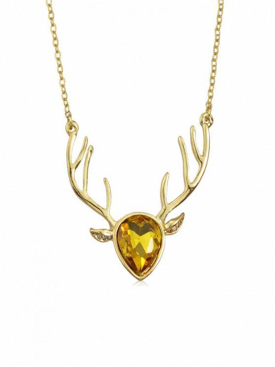 lady Rhinestone Deer Head Necklace - YELLOW