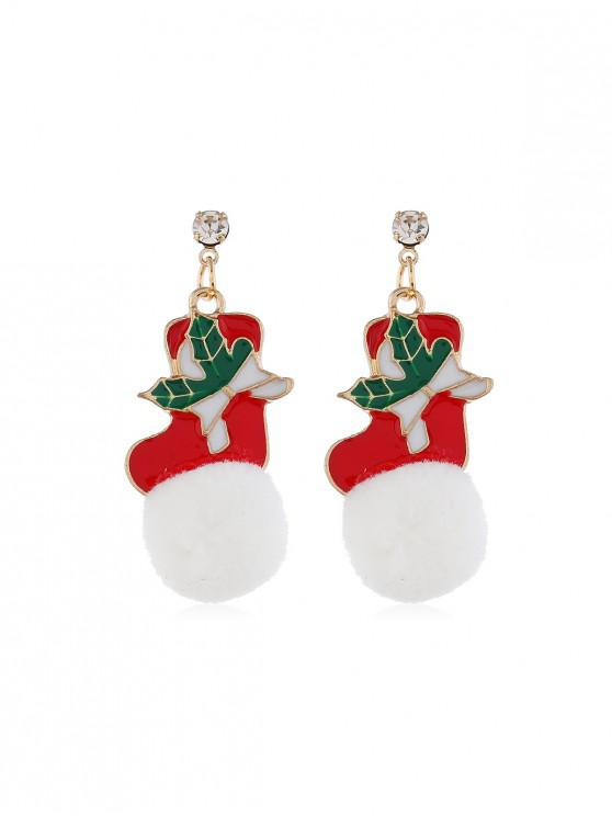 new Christmas Santa Fuzzy Ball Earrings - WHITE CHRISTMAS SOCK