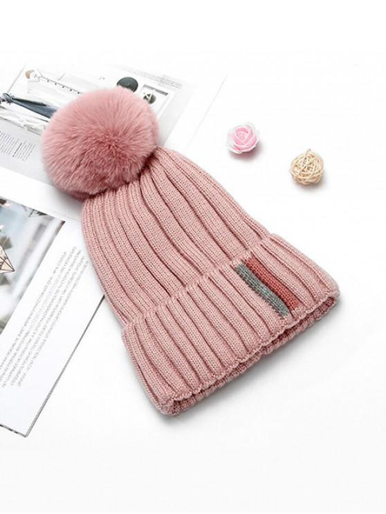 outfit Winter Fuzzy Ball Knitted Hat - LIGHT PINK