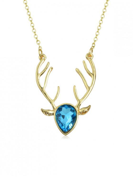 Collana testa di cervo con strass - Blu Hosta