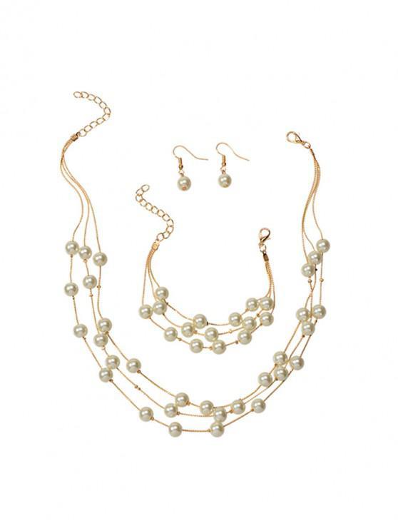 fancy Pearls Layered Chain Necklace Bracelet Earrings Set - GOLD
