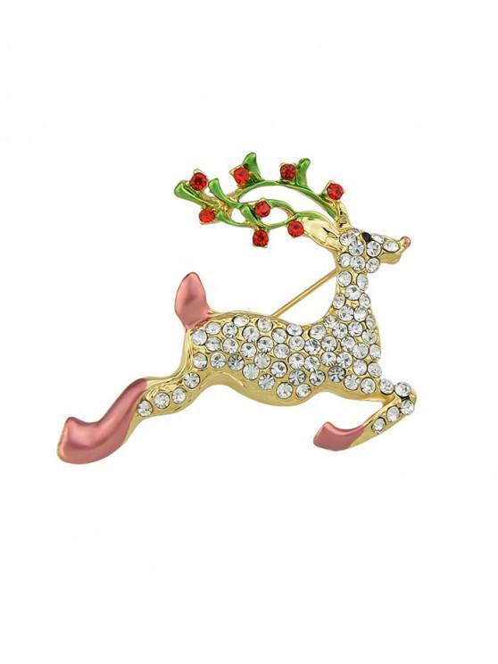 Natale strass Elk Forma Spilla - Oro