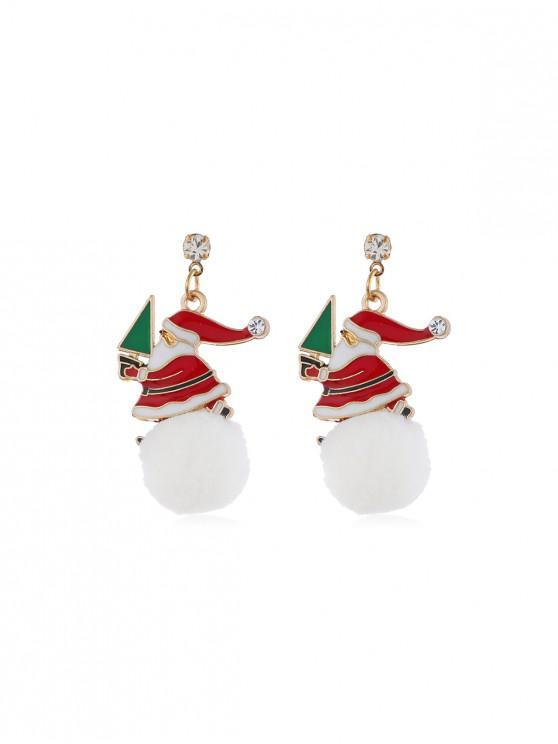 lady Christmas Santa Fuzzy Ball Earrings - WHITE SANTACLAUS