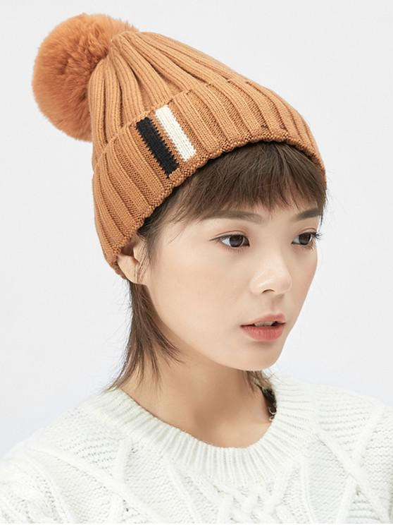 new Winter Fuzzy Ball Knitted Hat - CARAMEL