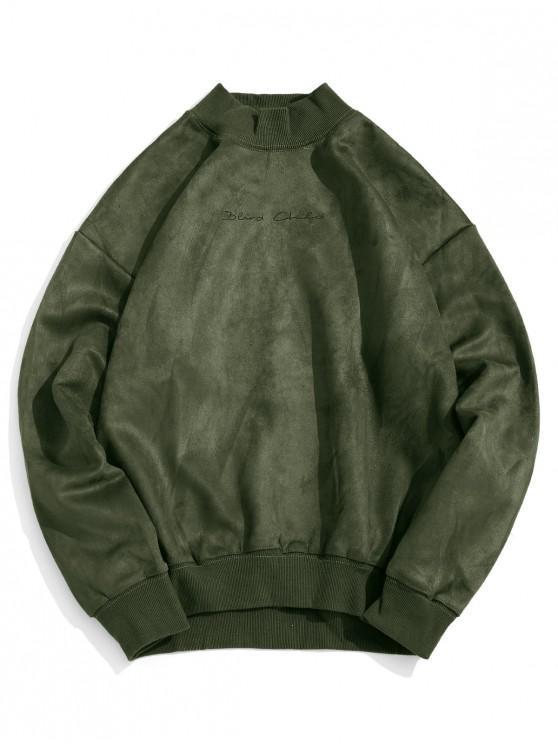 Carta sólida impresión de punto elástico ocasional de la camiseta del ajuste - Ejercito Verde M