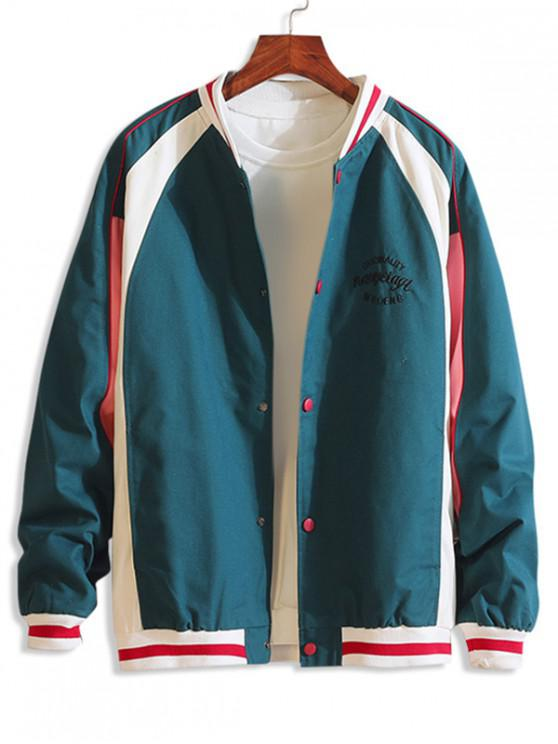 shop Letter Pattern Button Up Casual Style Jacket - LIGHT SEA GREEN 2XL