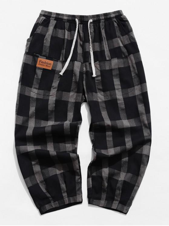 affordable Casual Plaid Pattern Drawstring Pants - TAUPE M