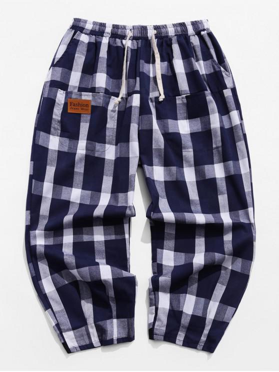 shops Casual Plaid Pattern Drawstring Pants - CADETBLUE M