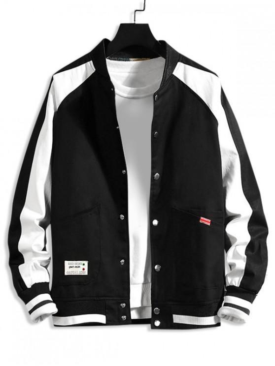best Letter Pattern Color Spliced Casual Jacket - BLACK XL