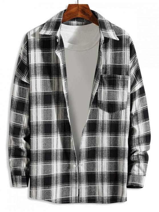 fancy Plaid Pattern Button Up Casual Long-sleeved Shirt - WHITE S
