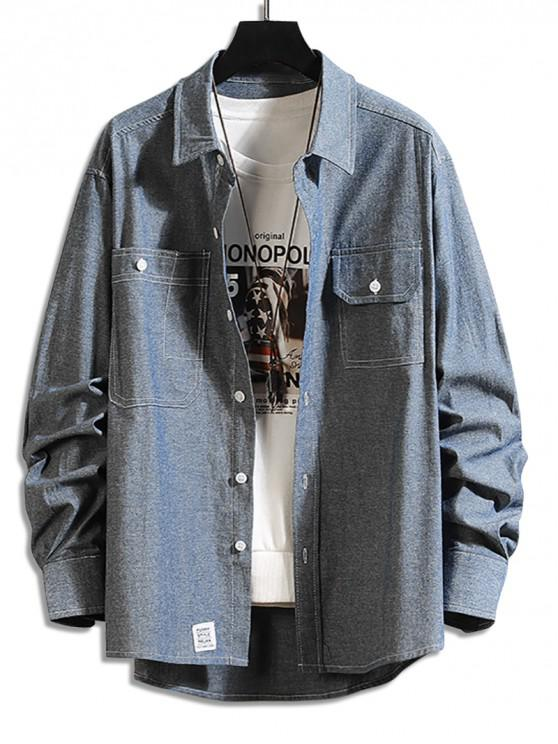 sale Pocket Decoration Button Up Casual Shirt - DEEP BLUE 3XL