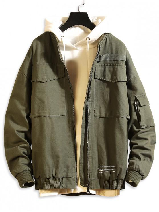 affordable Letter Print Pocket Decorated Casual Jacket - ARMY GREEN L