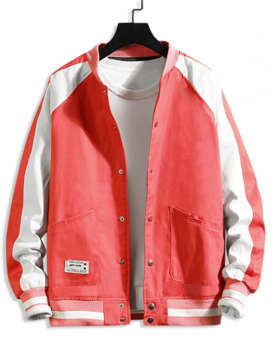 unique Letter Pattern Color Spliced Casual Jacket - RED 4XL
