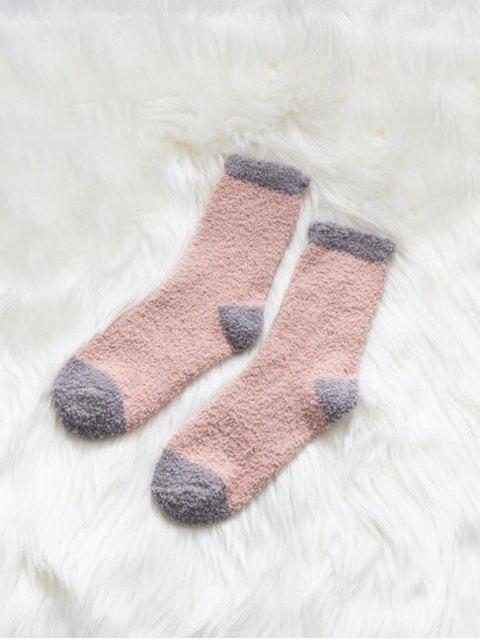 Chaussettes d'Hiver Bicolore en Laine - Rose Léger   Mobile