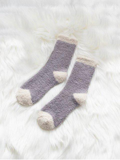 fancy Winter Fleece Home Floor Socks - MEDIUM PURPLE  Mobile