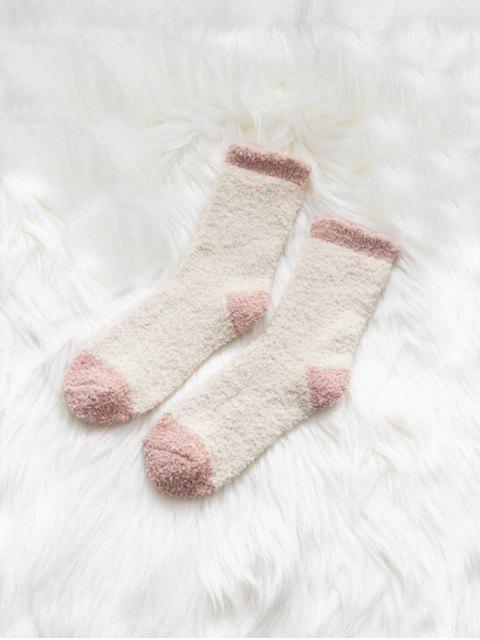 Chaussettes d'Hiver Bicolore en Laine - Blanc  Mobile