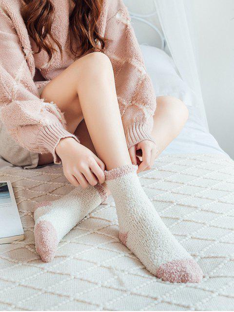 unique Winter Fleece Home Floor Socks - WHITE  Mobile