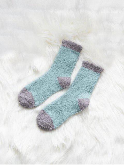 Chaussettes d'Hiver Bicolore en Laine - Bleu-gris  Mobile