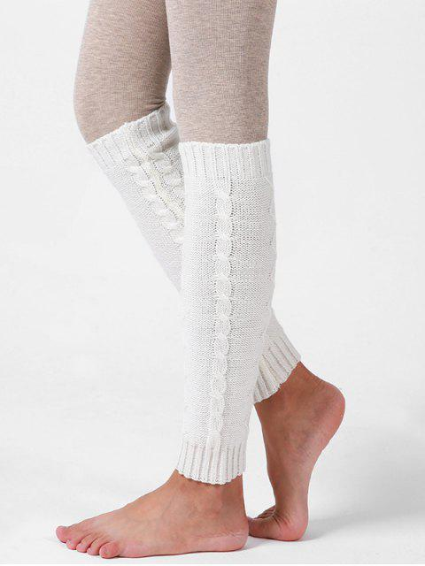 fancy Woolen Yarn Knitted Winter Sleeve Socks - WHITE  Mobile