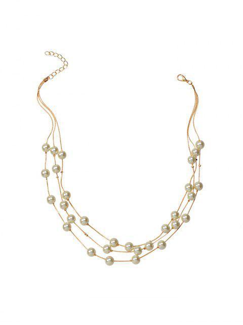 Жемчуг Многослойное Цепное Ожерелье Браслет Серьги в сборе - Золотой  Mobile