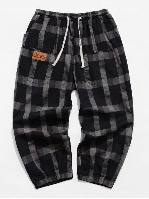 women's Casual Plaid Pattern Drawstring Pants - TAUPE S Mobile