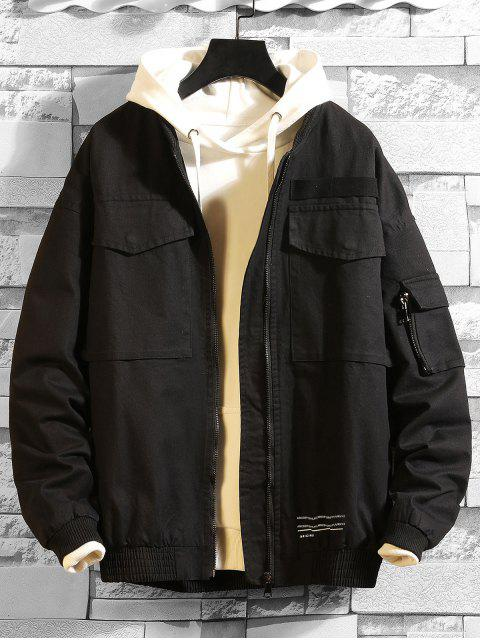 ladies Letter Print Pocket Decorated Casual Jacket - BLACK XL Mobile