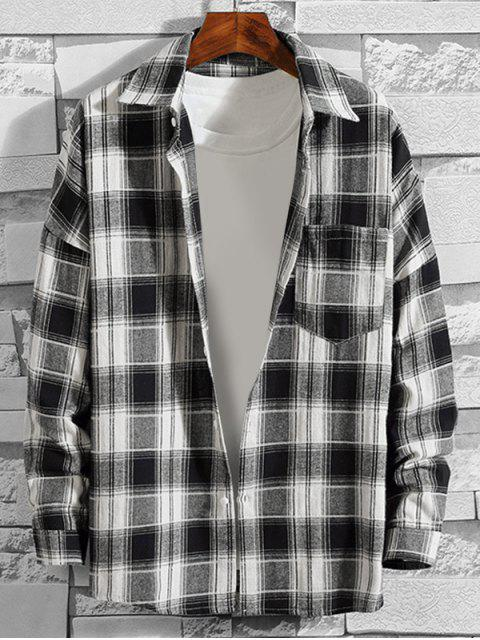 fancy Plaid Pattern Button Up Casual Long-sleeved Shirt - WHITE S Mobile