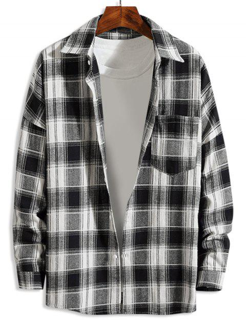shop Plaid Pattern Button Up Casual Long-sleeved Shirt - WHITE M Mobile