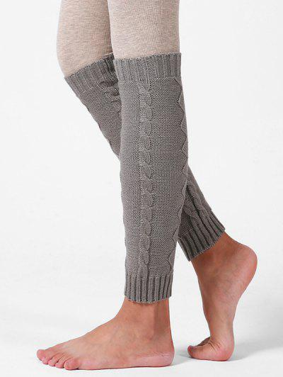 Woolen Yarn Knitted Winter Sleeve Socks - Gray