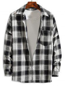 منقوشة نمط زر أعلى عارضة قميص طويل الأكمام - أبيض L